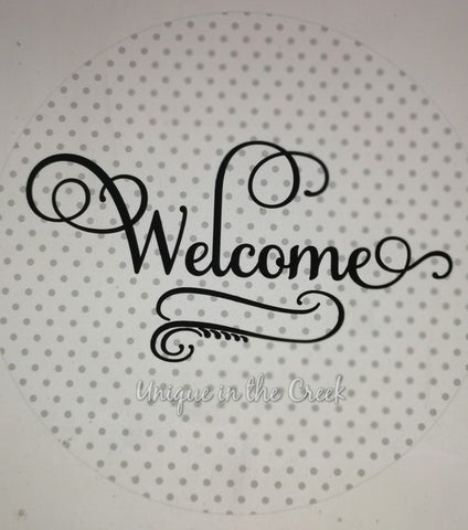 Welcome (BLACK and grey polka dot_digital insert for use with the UITC system