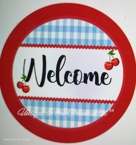 "545. Welcome with Cherries ""VINYL"" image center"