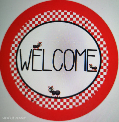"542. Welcome with ants ""VINYL"" image center"