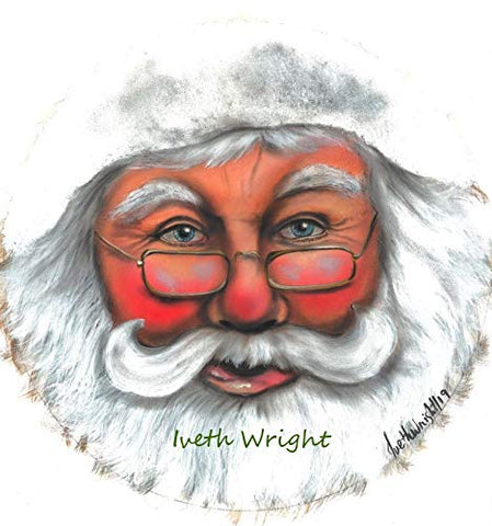 SANTA Vinyl Image Insert Wreath Signage  - Exclusive Original Image by Artist Iveth Wright