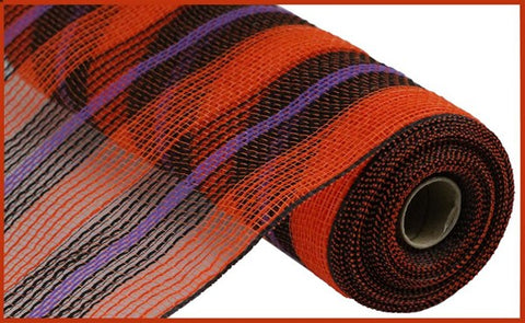 "10.5""X10yd Faux Jute/Pp Stripe Mesh Orange/Black/Purple"