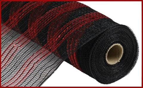 "10.5""X10yd Metallic/Faux Jute/Pp Stripe Black/Red (fabric mesh)"