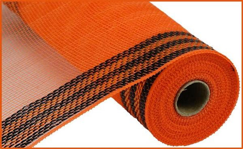 "10.5""X10yd Faux Jute/PP/BORDER STRIPE ORANGE BLACK (fabric mesh)"