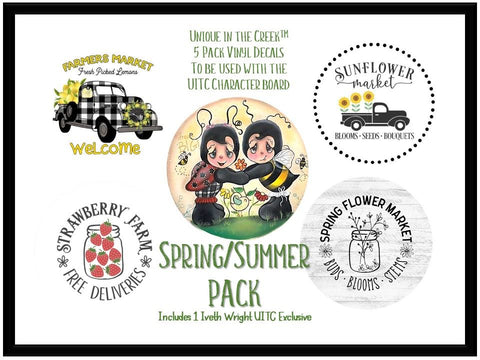 UITC™ 5 Pack of Vinyl Image Inserts Spring | Summer Themed Wreath Signage  - Includes 1 Exclusive Original Image by Artist Iveth Wright