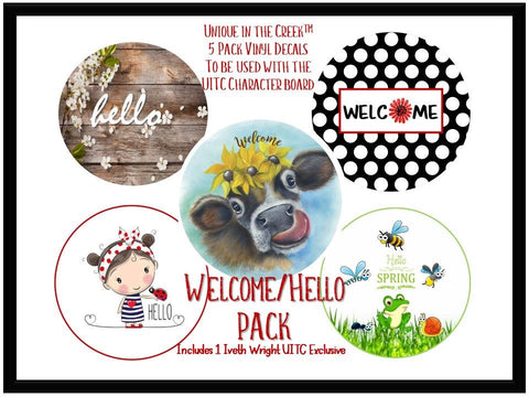 UITC™ 5 Pack of Vinyl Image Inserts Welcome | Hello Themed Wreath Signage  - Includes 1 Exclusive Original Image by Artist Iveth Wright