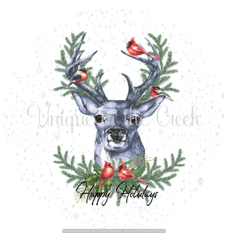 Happy Holidays with deer- digital insert for use with the UITC system