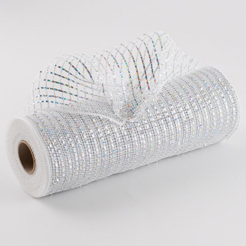 "Deco mesh -10"" x 10yd WHITE WITH SILVER Wide Foil - unique in the creek canada"