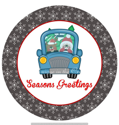 "663.  Seasons Greetings Truck, Santa, reindeer ""VINYL"" image center"