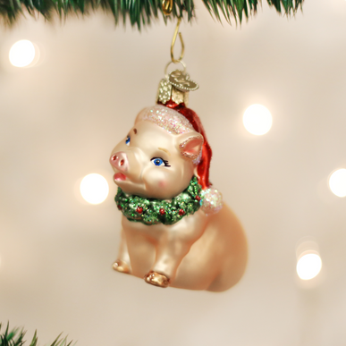 Holly Pig Ornament