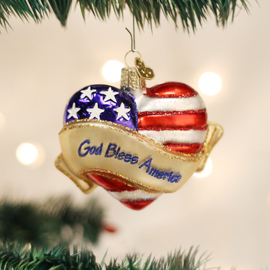 God Bless America Heart Ornament