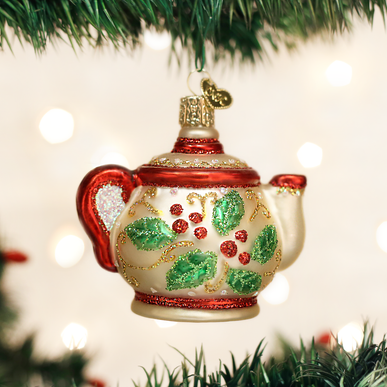 Holly Teapot Ornament