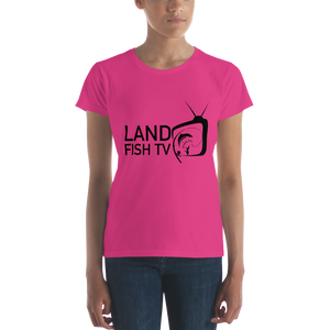 Women's short sleeve t-shirt - 'Black' logo - LandFishTV