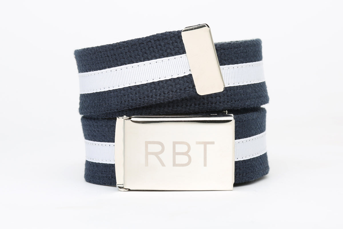 Mens Cotton Belt with Custom Monogram buckle