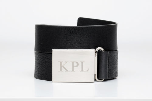 Womens Leather Belt with Custom Monogram buckle