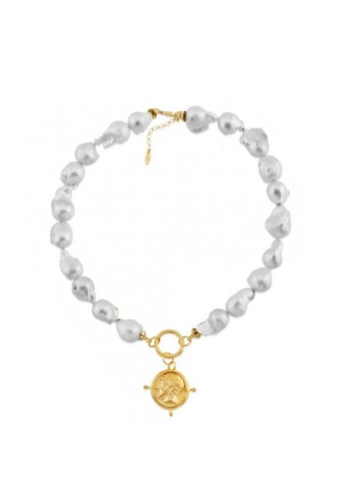 Maison Irem  Baroque Pearl Coin Choker