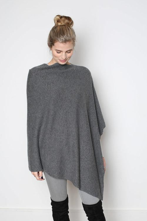 The Code Accessories  Cashmere Poncho - Charcoal