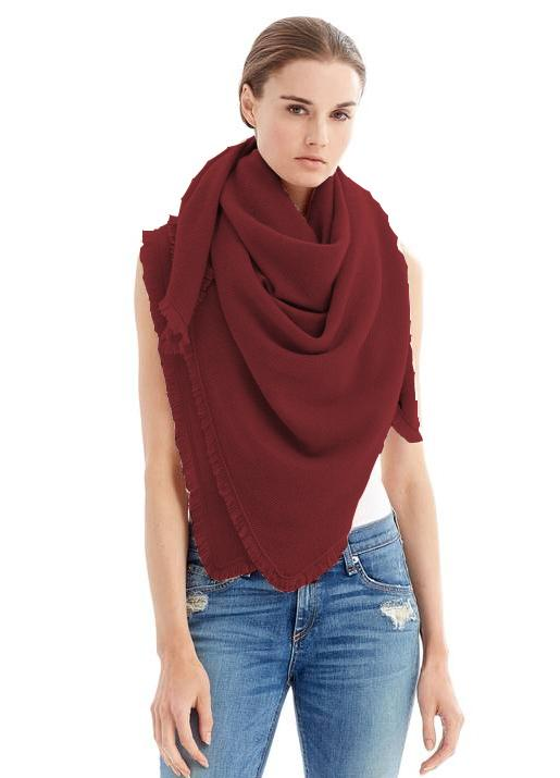 The Code Accessories  Fringe Cashmere Travel Wrap Dk. Red