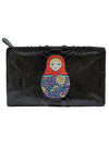 KTO2  Black Python Screen Print Zip Pouch Russian Doll