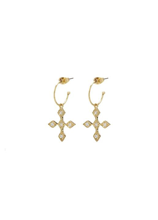 Luv Aj  Diamond Kite Cross Hoops - Gold