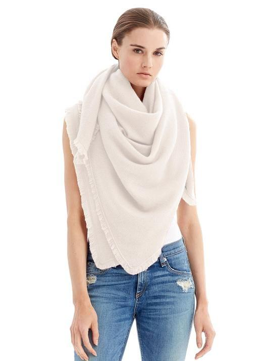 The Code Accessories  Fringe Cashmere Travel wrap - Ivory