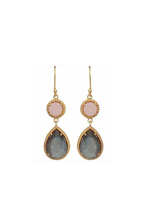 Carousel Jewels  Rose Quartz & Labradorite Drop Earrings
