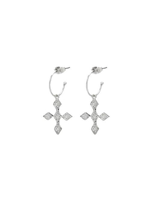 Luv Aj  Diamond Kite Cross Hoops - Silver