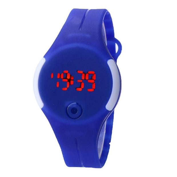 Silicone Men Round Sport 3 LED Watch