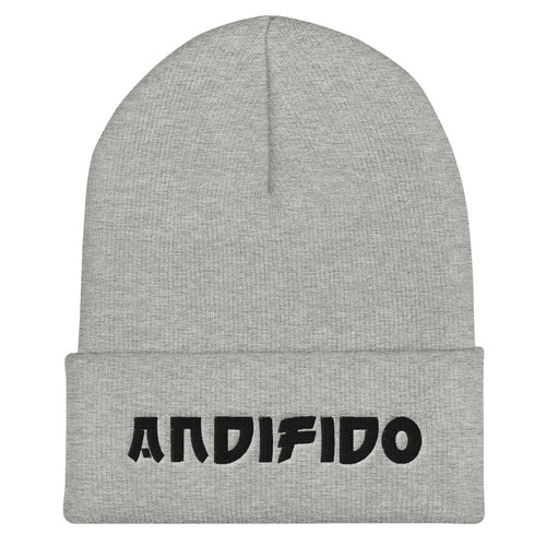 Black Print Cuffed Beanie - Andifido