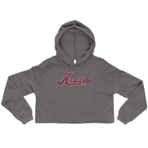 Black Crop Ladies Hoodie - Purple Shaw - Andifido
