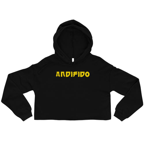 Black Crop Ladies Hoodie - Yellow Gold Print - Andifido
