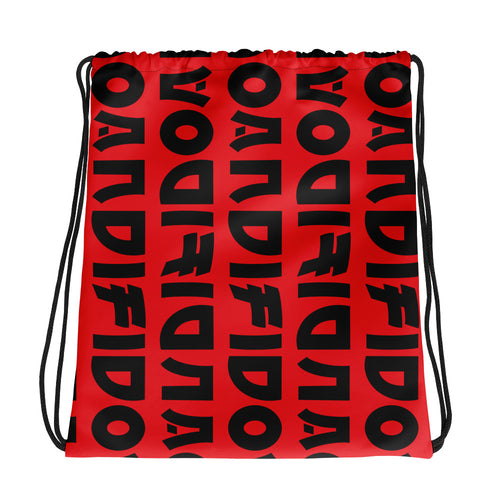 Flip Pattern Red Drawstring bag - Andifido