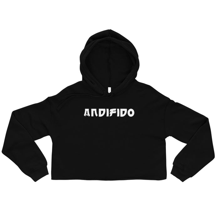 Black Crop Ladies Hoodie - White Print - Andifido