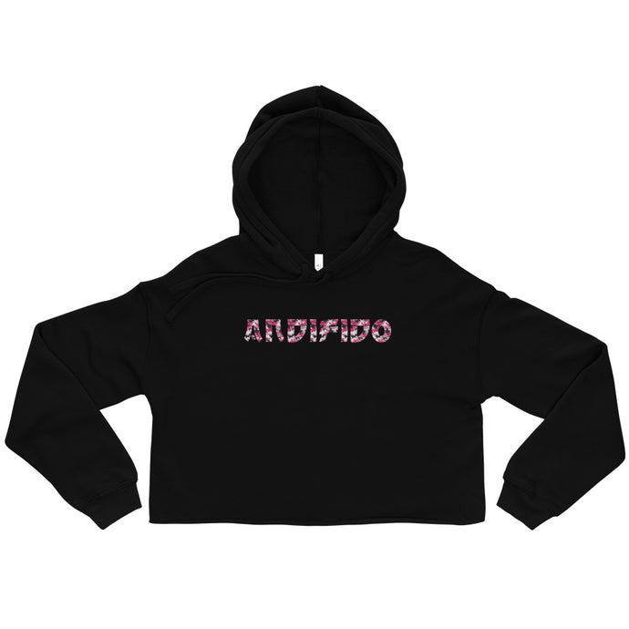 Black Crop Ladies Hoodie - Pink Camo Print - Andifido