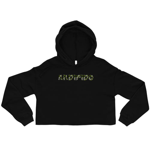 Black Crop Ladies Hoodie - Green Camo Print - Andifido