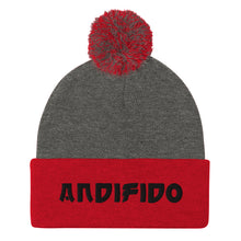 Load image into Gallery viewer, Black Print Pom-Pom Beanie - Andifido