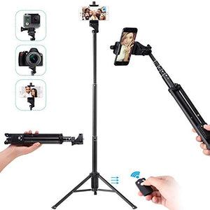Ottertooth Selfie Stick Tripod, 137cm Adjustable iPhone Tripod,Extendable  Camera Tripod with Wireless Remote for iPhone X/8 Plus/8/7 Plus/7/Galaxy/Go