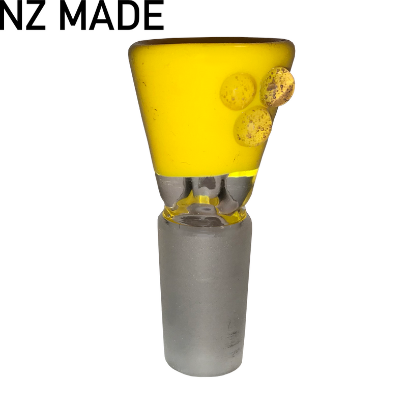 Hand Made Happy Yellow Cone Piece - 14mm - Inhale NZ - NZ's highest quality water pipes, smoking pipes, vape pens, e-liquids, herb vapes, grinders & more! We have the best prices in NZ! bongs nz, water pipes nz, bong nz, glass bongs nz, nz bongs, water pipe, water pipe nz, water bongs nz, bongs online nz