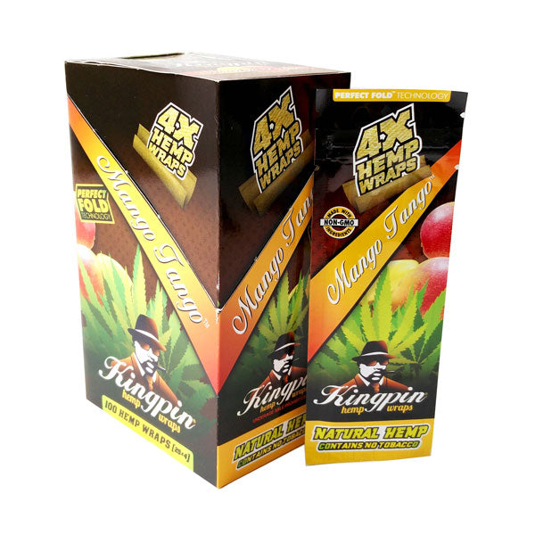 Kingpin Hemp Wrap - Mango Tango  - 4 Pack - Inhale NZ - NZ's highest quality water pipes, smoking pipes, vape pens, e-liquids, herb vapes, grinders & more! We have the best prices in NZ! bongs nz, water pipes nz, bong nz, glass bongs nz, nz bongs, water pipe, water pipe nz, water bongs nz, bongs online nz