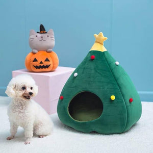 Christmas Tree Cat Litter Kennel Winter Warm Pet Nest Winter Cat House Pet Supplies Pet Bed - cabindusk