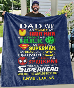 THE WORLD'S MOST AMAZING DAD FATHER'S DAY FLEECE BLANKETS WITH NAMES - cabindusk