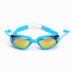 2020 Professional Silicone Swimming Goggles With Earplugs Nose Clips Electroplate Waterproof Swimming Goggles - cabindusk