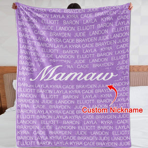 CUSTOM COZY PLUSH FLEECE BLANKET WITH NICKNAME & KIDS NAMES - cabindusk