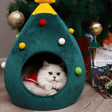 Load image into Gallery viewer, Christmas Tree Cat Litter Kennel Winter Warm Pet Nest Winter Cat House Pet Supplies Pet Bed - cabindusk