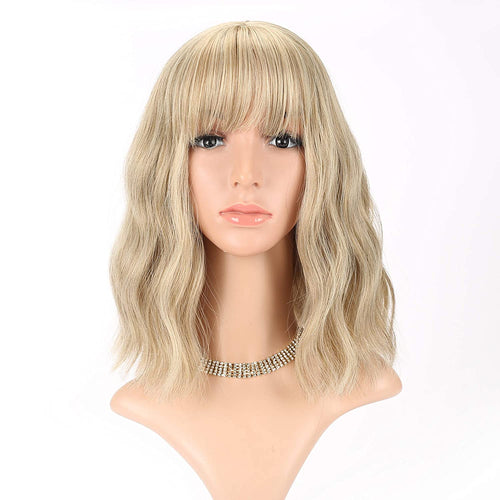 Wavy Wig Short Bob Wigs, Curly Wavy Cosplay Short Wig With Air Bangs - cabindusk