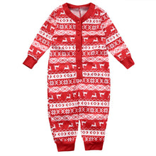 Load image into Gallery viewer, Matching Christmas Pajamas for Family with Kids, Plaid Elk Pattern One Piece Long Sleeve Pajamas - cabindusk
