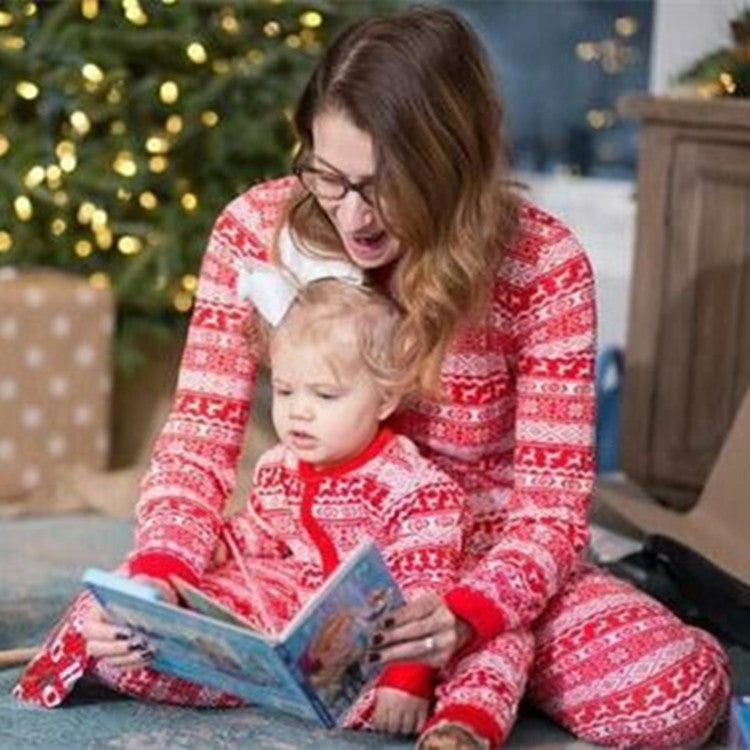 Matching Christmas Pajamas for Family with Kids, Plaid Elk Pattern One Piece Long Sleeve Pajamas - cabindusk