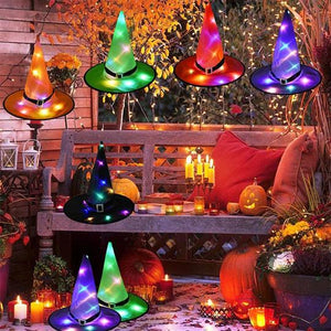 🔥HALLOWEEN Decorations Glowing Witch Hat Decorations 2 in 1 Hanging/Wearable🔥 - cabindusk