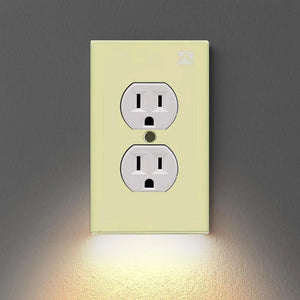 OUTLET WALL PLATE WITH LED NIGHT LIGHTS-NO BATTERIES OR WIRES [UL FCC CSA CERTIFIED] - cabindusk