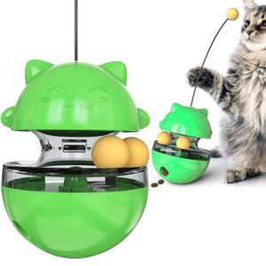 Interactive Cat Toys Tumbler Leaking Food Ball with Teasing Wand - cabindusk