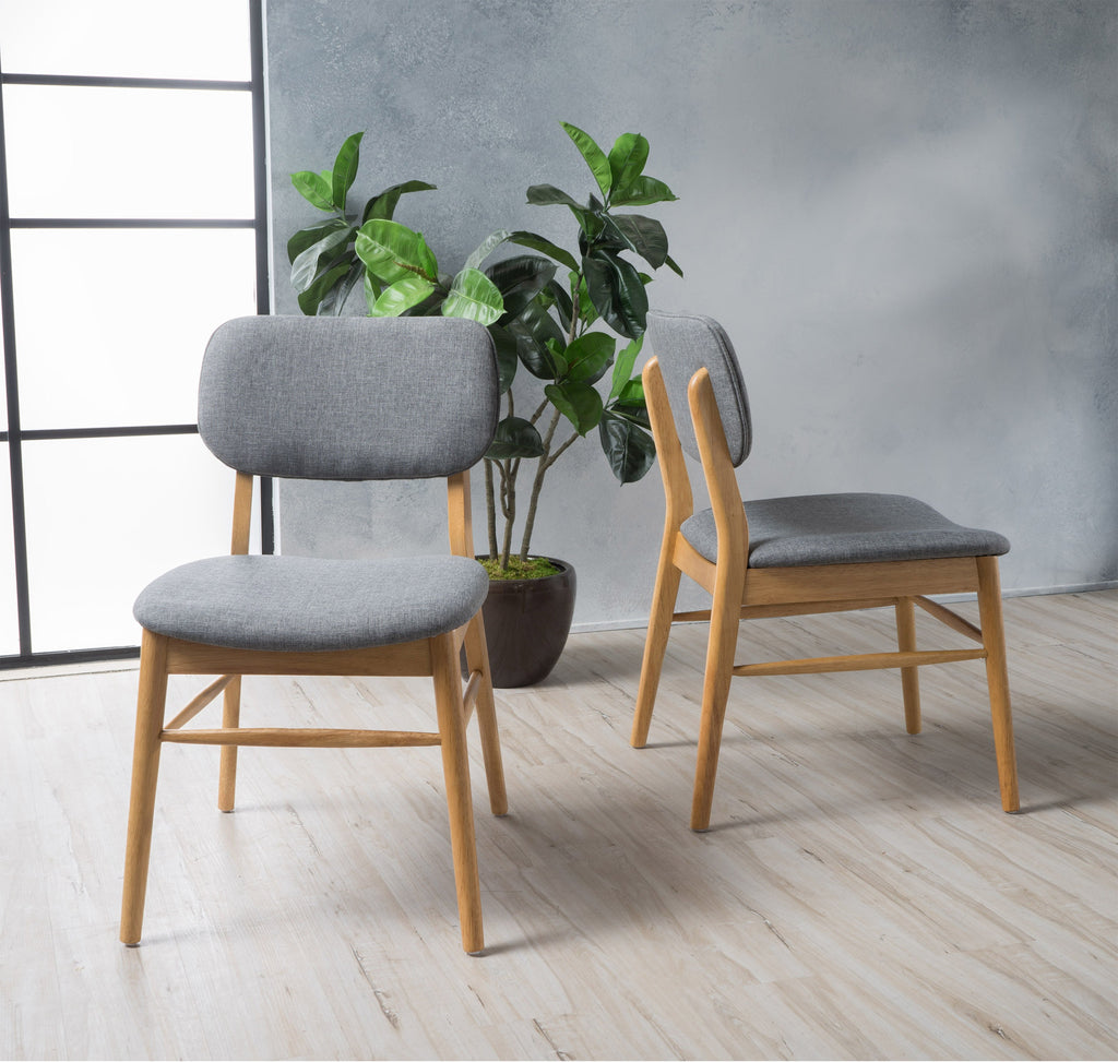 Beatrice Mid Century Wood Finish Dining Chairs (Set of 2)